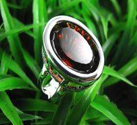 Wholesale Ring Garnet - Gorgeous jewelry Authentic 925 Silver Oval Garnet Quartz rings womens gemstone rings 1 10pcs
