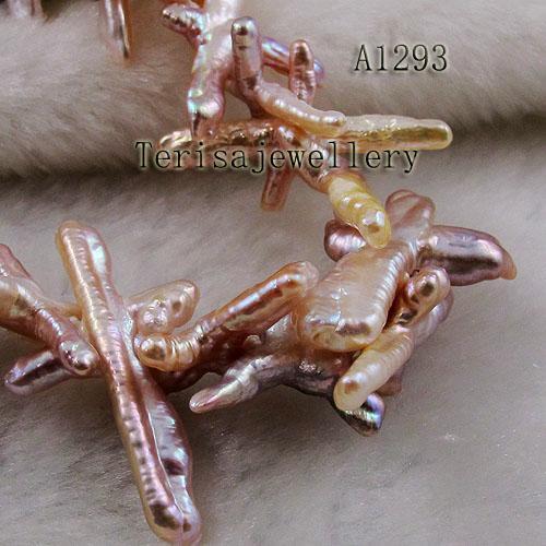 공장 도매 A1293 # 여자의 목걸이 핑크색 신선한 물 진주 목걸이 천연 보석