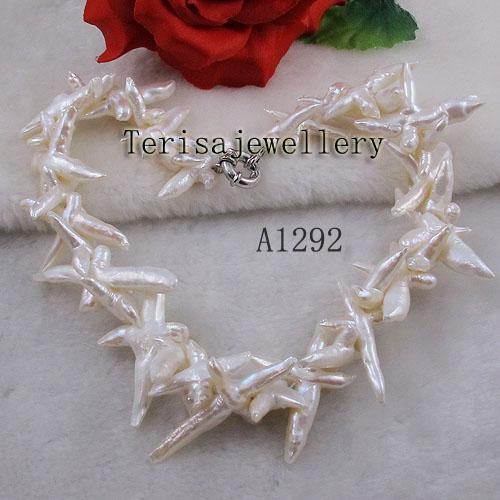 Collana colore bianco fabbrica A1292 Wholesale # della donna perla d'acqua dolce dei monili della collana naturale
