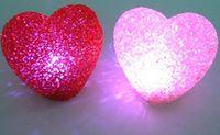 Wholesale Multi Color Mini Hearts - 2pcs lot crystal heart mini colors auto Changing LED Candle Night Light Multi-Color 7 flash light