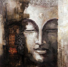 2019 olio astratto buddha Dipinto a mano all'ingrosso, olio su tela, arte su tela, pittura a olio su tela moderna astratta asiatica Buddha: BU # 018