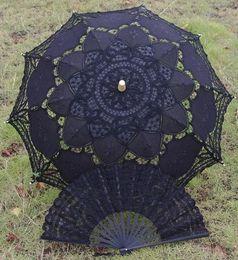 Wholesale Wholesale Black Lace Parasol - 4pcs lot black wedding full batten Lolita costume victorian LACE umbrella parasol and Fan handmade H106s