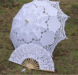 Wholesale Handmade Wood Design - vintage palace design wedding full batten Lolita costume victorian LACE umbrella parasol and Fan handmade H106s