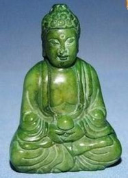 Wholesale Carved Statues - China retro carved statues, decorations, Green Jade Buddha, waist pendant, necklace.