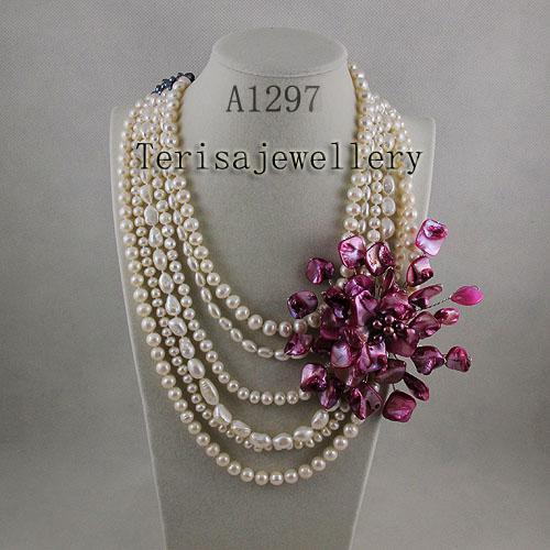 도매 A1297 # 여성 주얼리 핑크 쉘 신선한 물 진주 목걸이 뜨거운 판매 꽃 목걸이