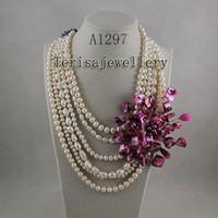 collares de perlas de color rosa caliente al por mayor-Comercio al por mayor A1297 # Joyería de la mujer rosa concha collar de perlas de agua dulce collar de la flor de la venta caliente