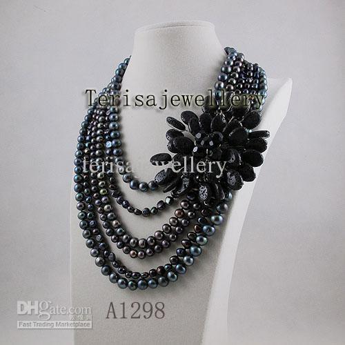도매 A1298 # 여성용 보석 검은 용암 신선한 물 진주 목걸이 뜨거운 판매 꽃 목걸이