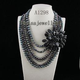 Wholesale Hot Sale Jewellery - Wholesale A1298#Woman's jewellery black lava Fresh Water Pearl Necklace hot sale flower necklace