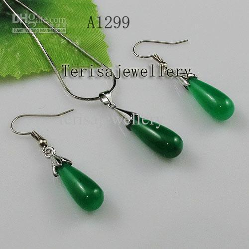 Groothandel A1299 # meisje vrouw sieraden set groen jade zilveren ketting hanger oorbel gratis verzending