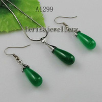 Wholesale Jade Silver Jewellery China - Wholesale A1299#Girl Woman's Jewellery set green jade silver necklace pendant earring free shipping