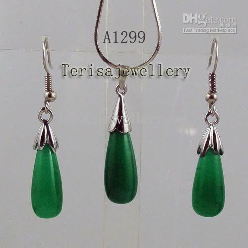 Wholesale A1299#Girl Woman's Jewellery set green jade silver necklace pendant earring