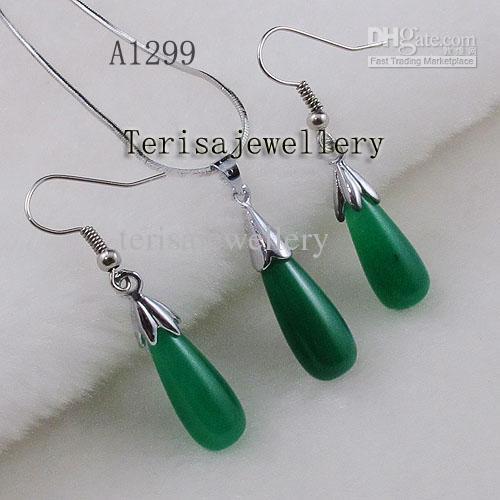 Monili d'argento all'ingrosso della collana della collana della giada della giada verde stabilito dei monili della donna di A1299 # trasporto libero