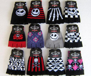 20 Pairs Striped Skull Rose Unisex Print Elastic Half Finger Gloves
