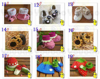 Wholesale Boots For Infants - Hot selling HANDMADE baby Crochet shoes boots,hand-crocheted first walker shoes for infants toddlers