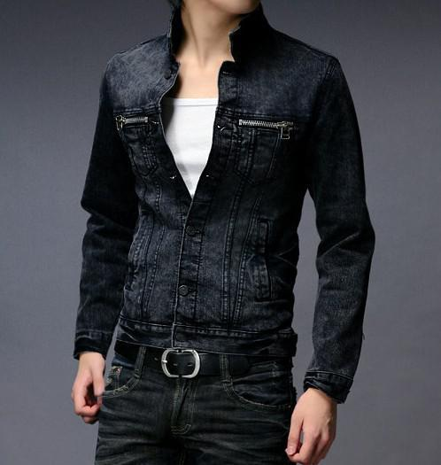 Men Jacket Men's Cotton Denim Slim Sportsman Fashion Jacket Black ...