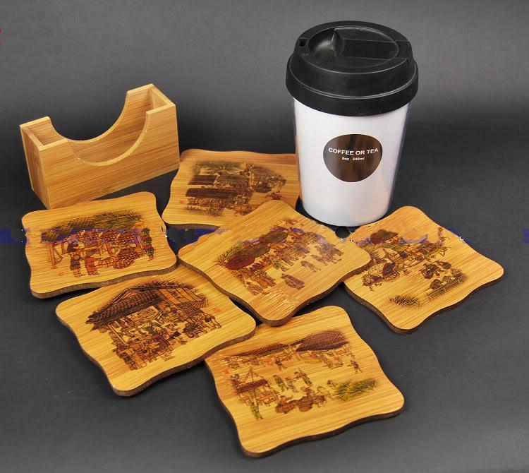대나무 인쇄 선물 코스터 커피 컵 패드 민족 장식 코스터 세트 포장 상자 도매 10 세트 / 팩 1 세트 =  무료