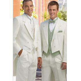 Topkwaliteit Double Breasted Notch Revers Nieuwe Wit Bruidegom Tailcoat Wedding Heren Pak Bruidegom Suits jas + Broek + Tie + Vest 05