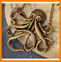 ожерелья карибы оптовых-Оптовая 10шт/много мода Vintage Карибский пиратский осьминог длинное ожерелье бронзовые ZHKR0002137