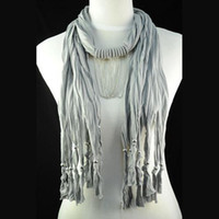 Wholesale Scarf Jewelry Chain Charm - Jewelry scarf necklace women , grey knited cotton scarf , costume jewellery chains ,fashion pendant scarf jewelry NL-1462C