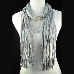Wholesale Scarf Jewelry Chain Charm - Jewelry scarf necklace women , grey knited cotton scarf , costume jewellery chains ,fashion pendant scarf jewelry NL-1462C