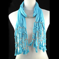 Wholesale Winter Scarf Jewelry - Jewellery necklace scarf for women accessories, costume jewelry women winter tassel scarf , multi strand necklace scarf , NL-1440D
