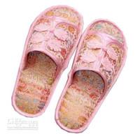 Wholesale Wholesale Women Minimum Order - Cheap Women's Indoor Slipper Hotel Chinese Knot Silk Satin Rubber Bottom Slippers Minimum Order 3pair Free shipping