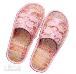 Wholesale Wholesale Minimum - Cheap Women's Indoor Slipper Hotel Chinese Knot Silk Satin Rubber Bottom Slippers Minimum Order 3pair Free shipping