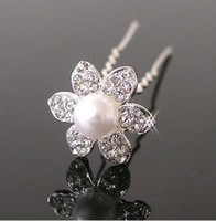 Wholesale Swarovski Wholesale Hair - 20 Faux Pearl Swarovski Crystal flower Wedding Bridal Prom Hairpins U shaped Hair Pins w205