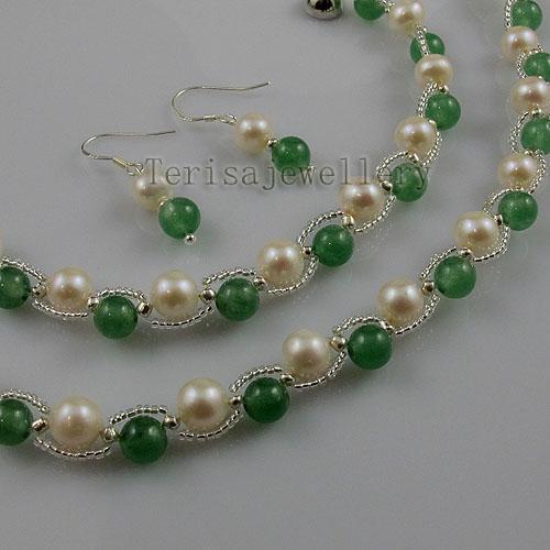 Jade Fresh Water Pearl Ketting Armband Oorbel Mode Vrouw Sieraden Set Groothandel A1340