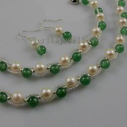 $enCountryForm.capitalKeyWord Australia - jade fresh water pearl necklace bracelet earring fashion woman's jewelry set wholesale A1340