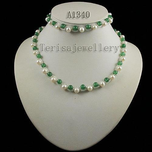 jade fresh water pearl necklace bracelet earring fashion woman's jewelry set wholesale A1340
