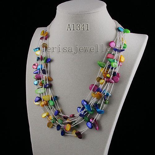смешивает цвет оболочки 11 шт. ожерелье Оптовая бесплатная доставка женская мода ювелирные изделия ожерелье A1341