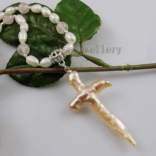 жемчуг розовый кварц крест ожерелье пресной воды Жемчужное ожерелье мода женщины ювелирные изделия ожерелье A1349
