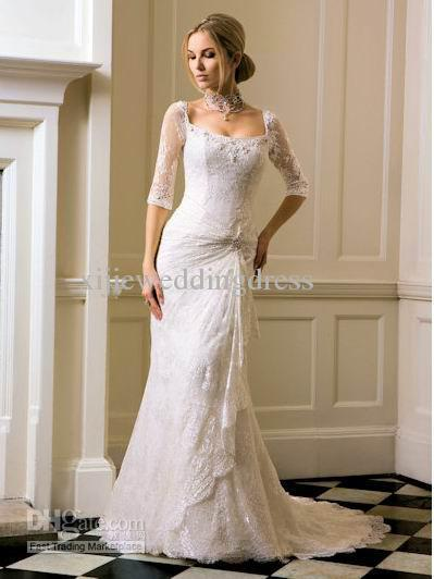 Discount lace sleeved fitted wedding dress three quarter for Lace three quarter sleeve wedding dress