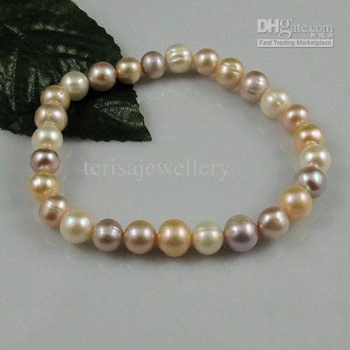 белый розовый фиолетовый пресной воды Перл мода женщины ювелирные изделия браслет Оптовая бесплатная доставка A1424
