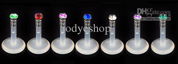 Gem Flessibile Flessibile press fit gemma Acciaio chirurgico Bioplast LABRET LIP RING colore della miscela