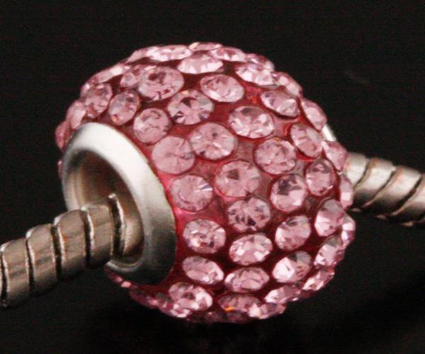 Mix Colors Piękne Rhinestone Kryształowe Koraliki 925 Silver Koraliki Fit Bransoletka, 50 sztuk Gorąca Sprzedaż