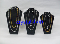 Wholesale Necklace Mannequin Free - Wholesale Free Shipping 6set lot Black Acrylic Necklace Display Mannequin Necklace Showing Stand Jewelry Display Rack Shelf Mold Bust Portra