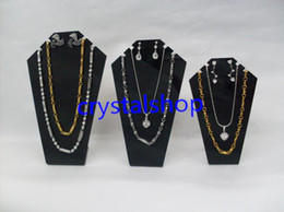 Wholesale Bust Mannequin Jewelry Stand - Wholesale Free Shipping 6set lot Black Acrylic Necklace Display Mannequin Necklace Showing Stand Jewelry Display Rack Shelf Mold Bust Portra