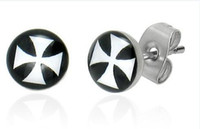 Wholesale Earrings Lo - Ear Stud Print Earring 316l Surgical Steel Fashion Logo Body Piercing Jewelry Cross Style 100PCS LO