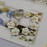Wholesale Fresh Flower Bracelets - flower bracelet white color shell fresh water pearl new woman's jewelry bracelet wholesale A1365