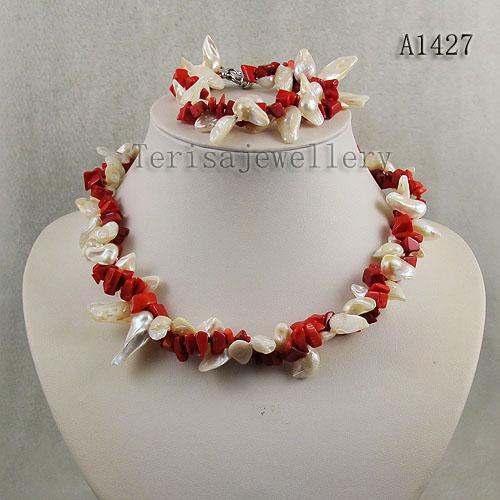 Woman's Necklace Armband Hot Koop 2Ort Unieke rode koraal witte zoetwater parel sieraden set A1427