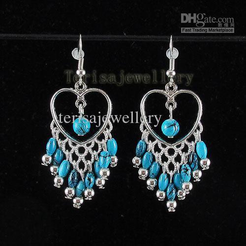 Niebieski turkusowy kolczyk serce shaper 925 sterling srebrny hak moda biżuteria kobieta kolczyk A1390