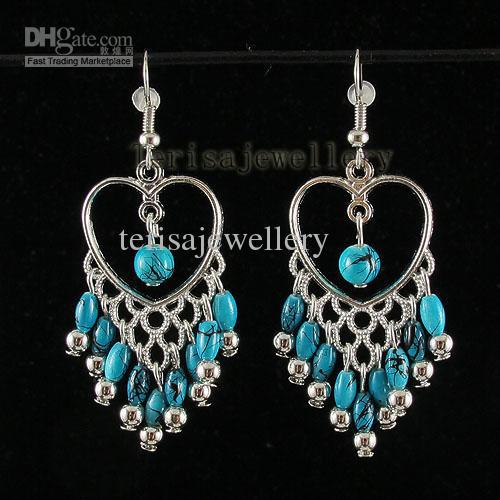 голубая бирюза серьги сердце формирователь 925 серебро крюк ювелирные изделия женщины A1390