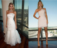 Wholesale Thin Strapless Wedding Dresses - 2013 Ivory strapless thin organza Bridal Gown Wedding Dress (Removable dettachable skirt)-12115