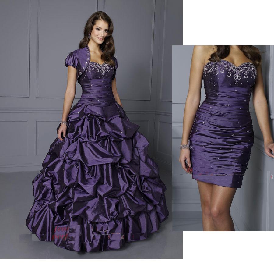 New Purple Sweetheart Two Piece Design Pleated Beads Taffeta Short ...