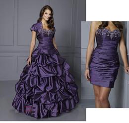 Wholesale Short Taffeta Wedding Dress Sweetheart - NEW Purple Sweetheart Two Piece Design Pleated Beads Taffeta Short Mini Bridal Gowns Detachable Train Pick Up Wedding Dresses