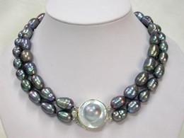 mabe perlen Rabatt Mabe Verschluss echte natürliche 10-11mm Reis schwarze Perlen Halskette 1819 Zoll