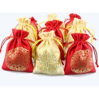 мешки оптовых-Дешевые небольшие шелковые ткани Drawstring сумки китайский счастливый ювелирные изделия подарок мешки Рождество конфеты мешок свадебные сувениры Оптовая 200 шт. / лот