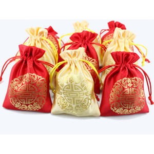 Wholesale Cheap Small Silk Fabric Drawstring Bags Chinese Lucky Jewelry Gift Pouches Christmas Candy Bag Wedding Favors
